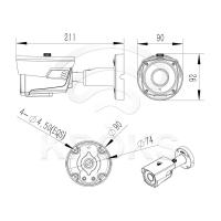 Уличная цилиндрическая AHD/CVI/TVI/CVBS видеокамера 2 Мп 2,8-12 мм LBP60HTC200ESL